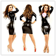 M-XXL Sexy Black Women Wet Look Fetish Bondage Vinyl PVC Leather Bodycon  Party Dresses Ladies Club Dress Plus Size