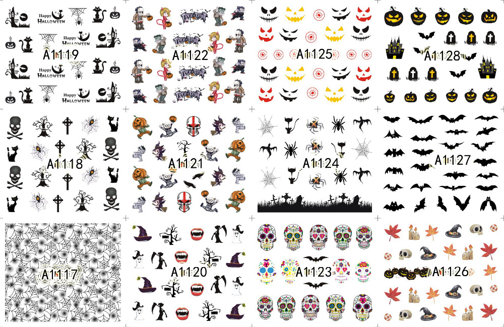 Large Halloween Nail Art Water Transfer Nail Stickers Decal Tips ...