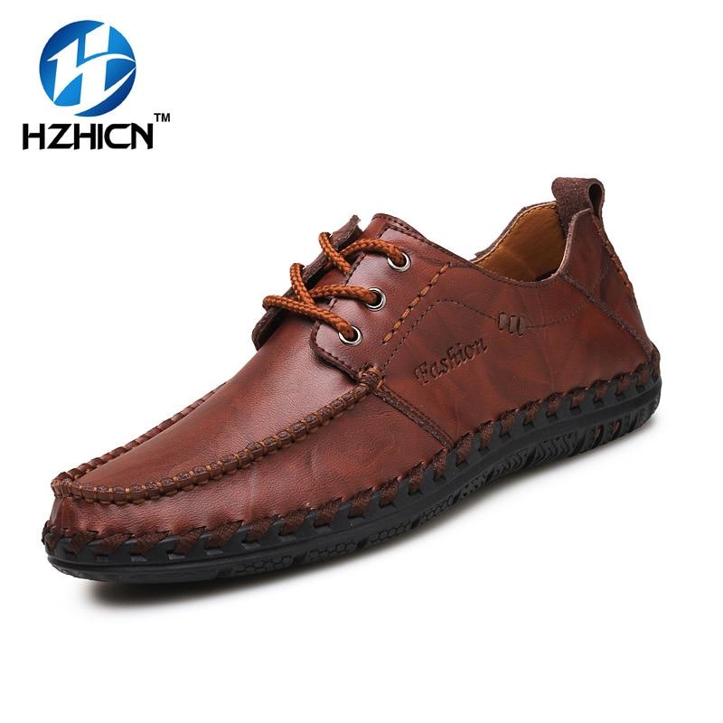 Handmade Men Casual Shoes Fashion Split Leather Men Shoes Luxury Comfortable Breathable Men Summer Shoes Flats HZHICN