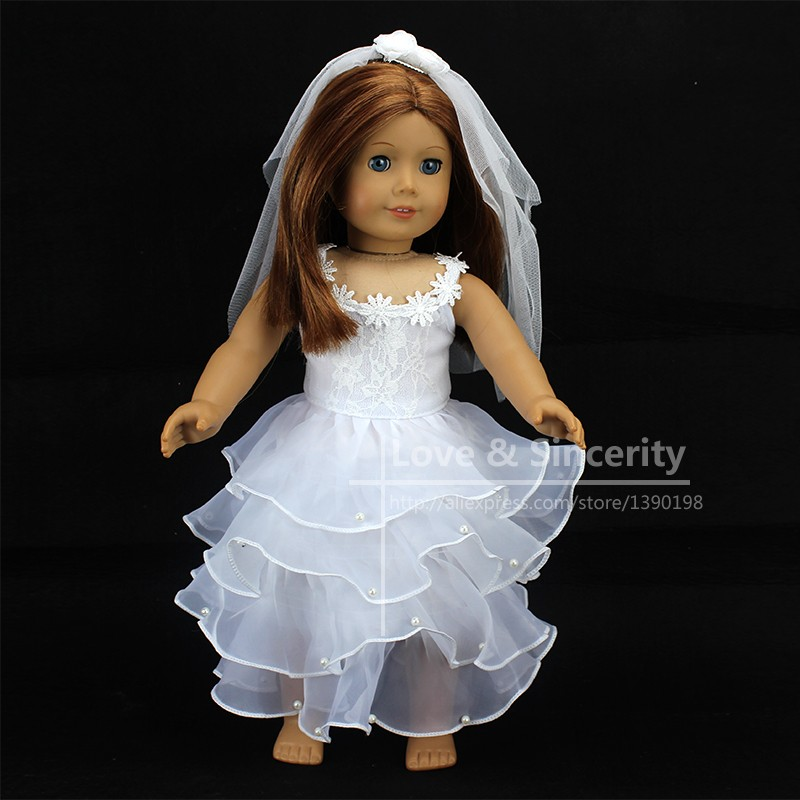Elegant White Wedding Dress For American Girl Doll 18 inch Ddoll Clothes american girl dolls clothing 6 styles elegant color flower print long dress for 18 inch doll clothes accessories girl x 40