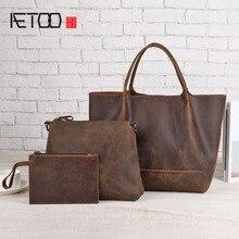 Фотография AETOO Ladies leather handbag retro child bag large capacity crazy horse skin bag personalized shoulder bag diagonal package
