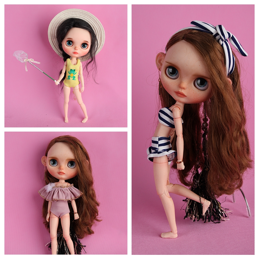 1 Set Assorted Blyth Cute Swimsuit Set Fashion Bathing Suit For Blyth Dolls Accessories Clothes For Dolls