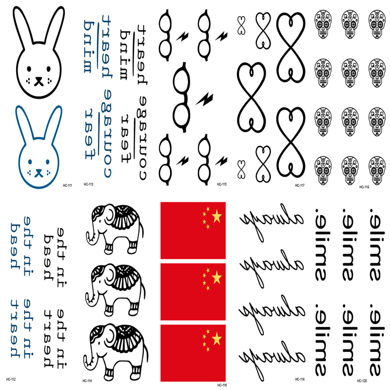 10pcs Tattoo Sleeve Waterproof Temporary Tattoo Stickers Harajuku In The Heart Head Letter Design Wrist Tattoos Sexy Fake Tatoo