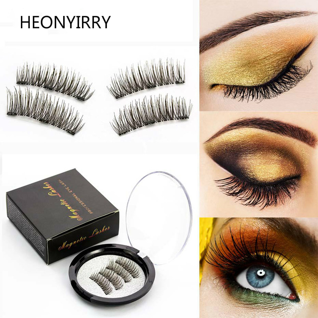 6f815ba471 Fake Eyelashes Thick 3d Mink Magnetic False Eyelashes 4 pcs/Pair Magnetic  Magnet