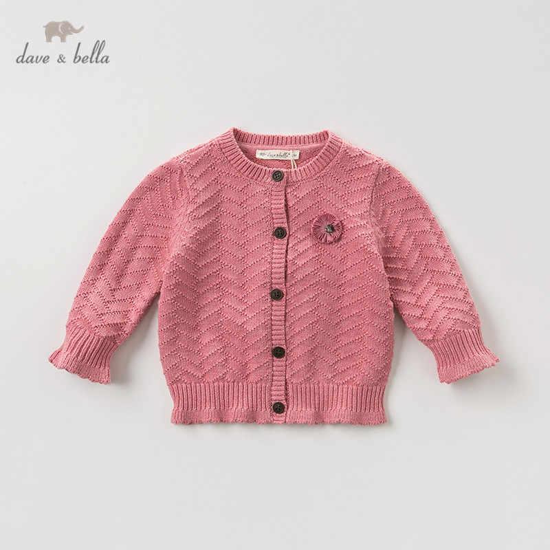 Dbm10847 데이브 벨라 가을 유아 아기 소녀 패션 꽃 솔리드 카디건 아이 유아 코트 어린이 귀여운 니트 스웨터