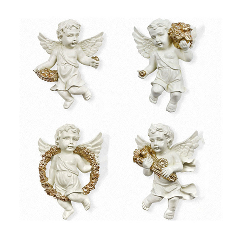 4pcs Resin Home Wall Hanging Angel Statues Figurine Europe Type Home Decor TV Background Wall Living