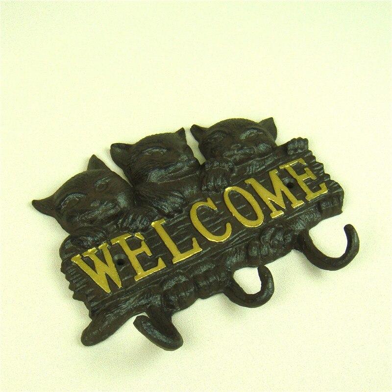 Cute Cast Iron Cat Key Hook Wall Mounted Metal Kitty Umbrella Hanger ...