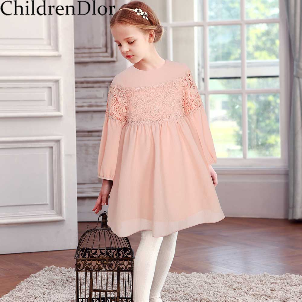 Girls Lace Dress 2017 Brand Princess Dress Girls Clothes with Long Sleeve Reine Des Neige Kids Dresses Children Costume Clothing
