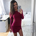 spring autumn dresses 2017 new fashion women casual long sleeve O-neck mini dress sexy black pink irregular work dress vestidos