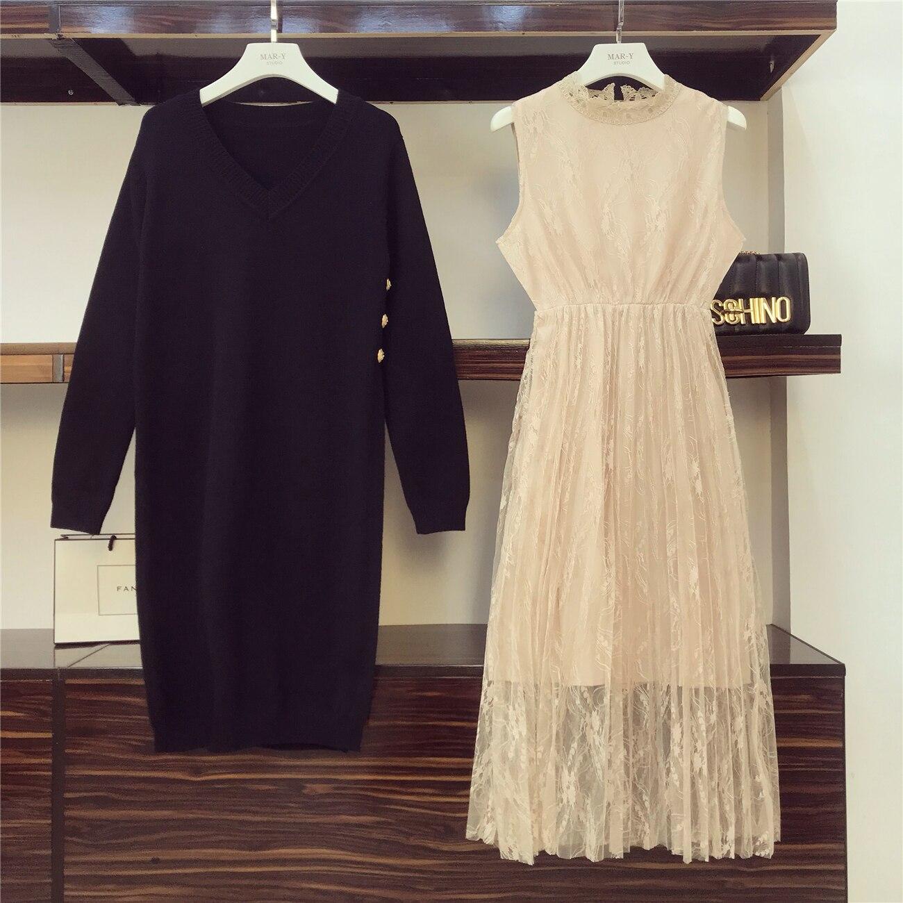 Tricot Tricoté Longues Filles Automne Robes Dames Fourchette Deux Pièces Kaki 2018 Robe Ensembles noir Dentelle Hiver Costume Manches nkX0P8NwO