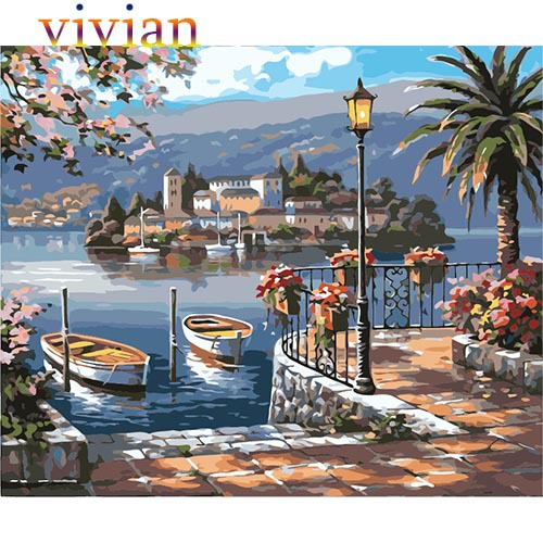 """16x20/"""" DIY Acrylic Paint By Number kit Painting Canvas Lakeside House Harbour"""