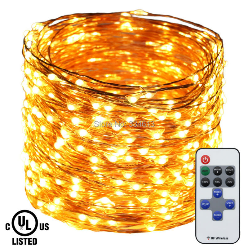 50M 164FT 500LED Copper Wire Warm White LED String Lights Holiday Indoor Christmas Fairy Lights with Remote+ UL CE Adapter