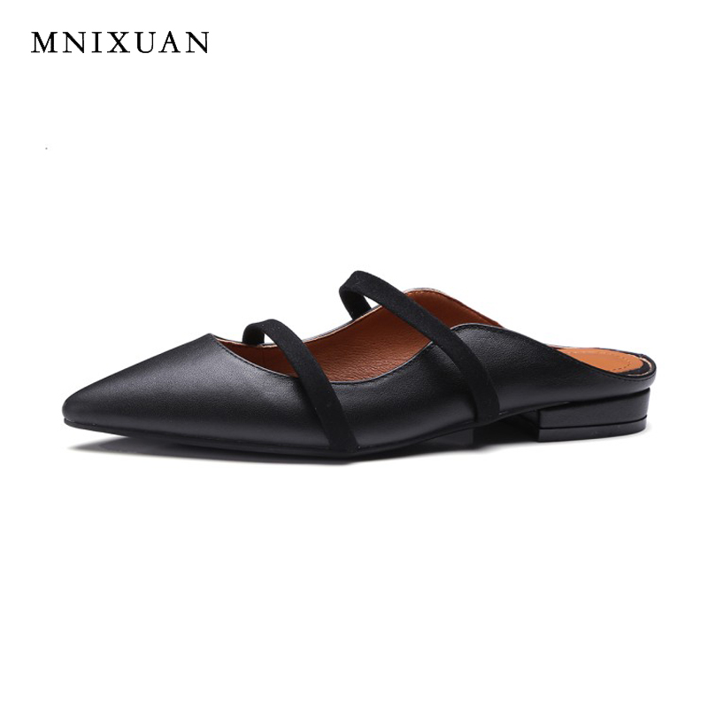Handmade high quality shoes women leather for summer 2018 new pointed toe fashion comfortable flats sandals ladies casual shoes new arrival soft leather shoes women flats fashion design square toe comfortable women s flats office ladies brand shoes