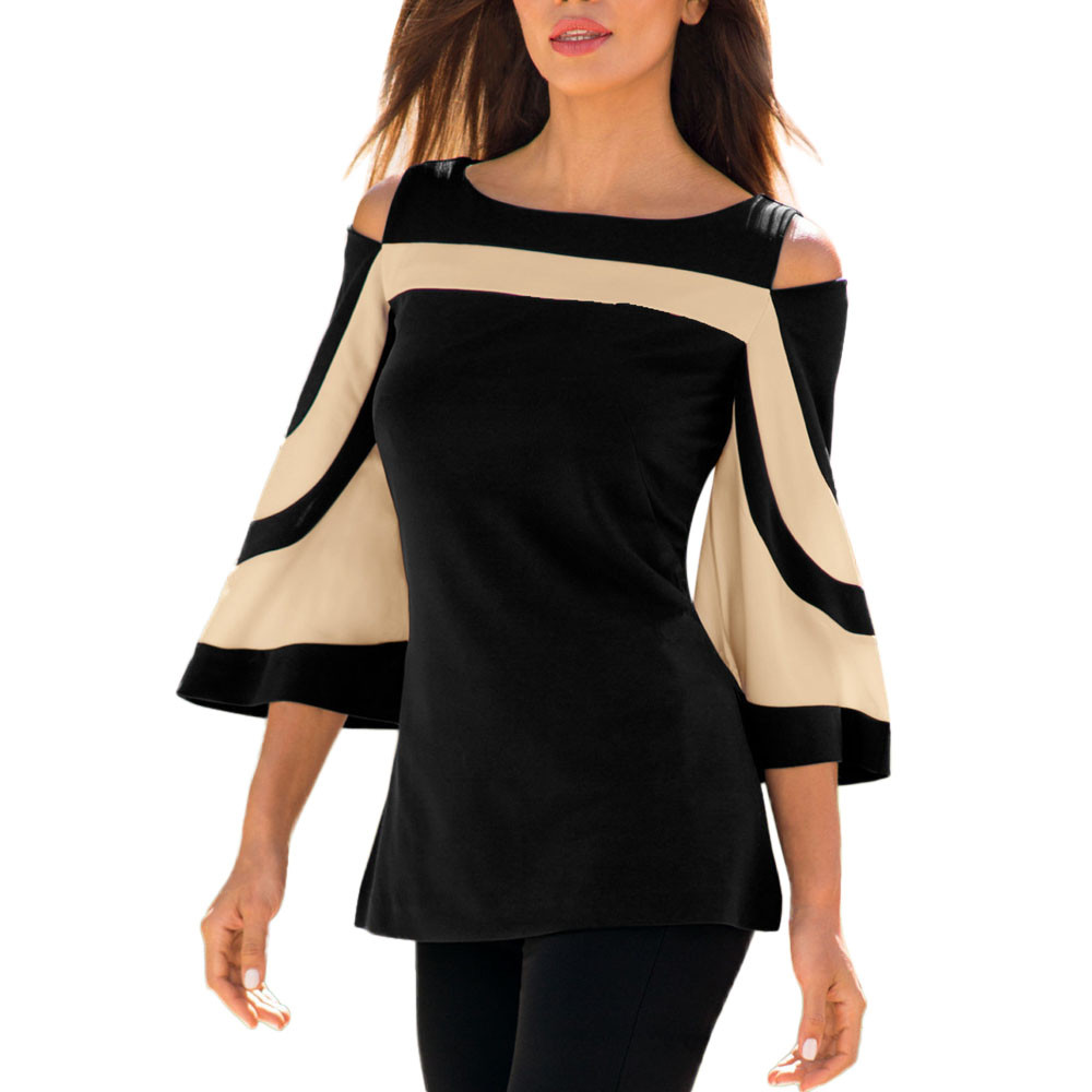 Falre Sleeve Women Shirt Patchwork Off Shoulder 2018 New Spring Casual Shirt Full Ladies Clothing Shirts#121