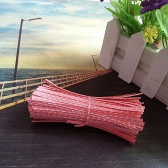 Dot Print Wire Twist Ties Gifts Bags 100Pcs