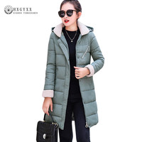 Women Winter Coat Long Parka Female Thick Warm Lambwool Turn down Collar Quilted Jacket Plus Size Hooded Outerwear 2019 Okd379