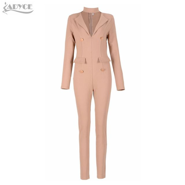 2016 Winter womens rompers jumpsuit Apricot long sleeve button turn-down collar business wear celebrity runway bodycon bodysuit