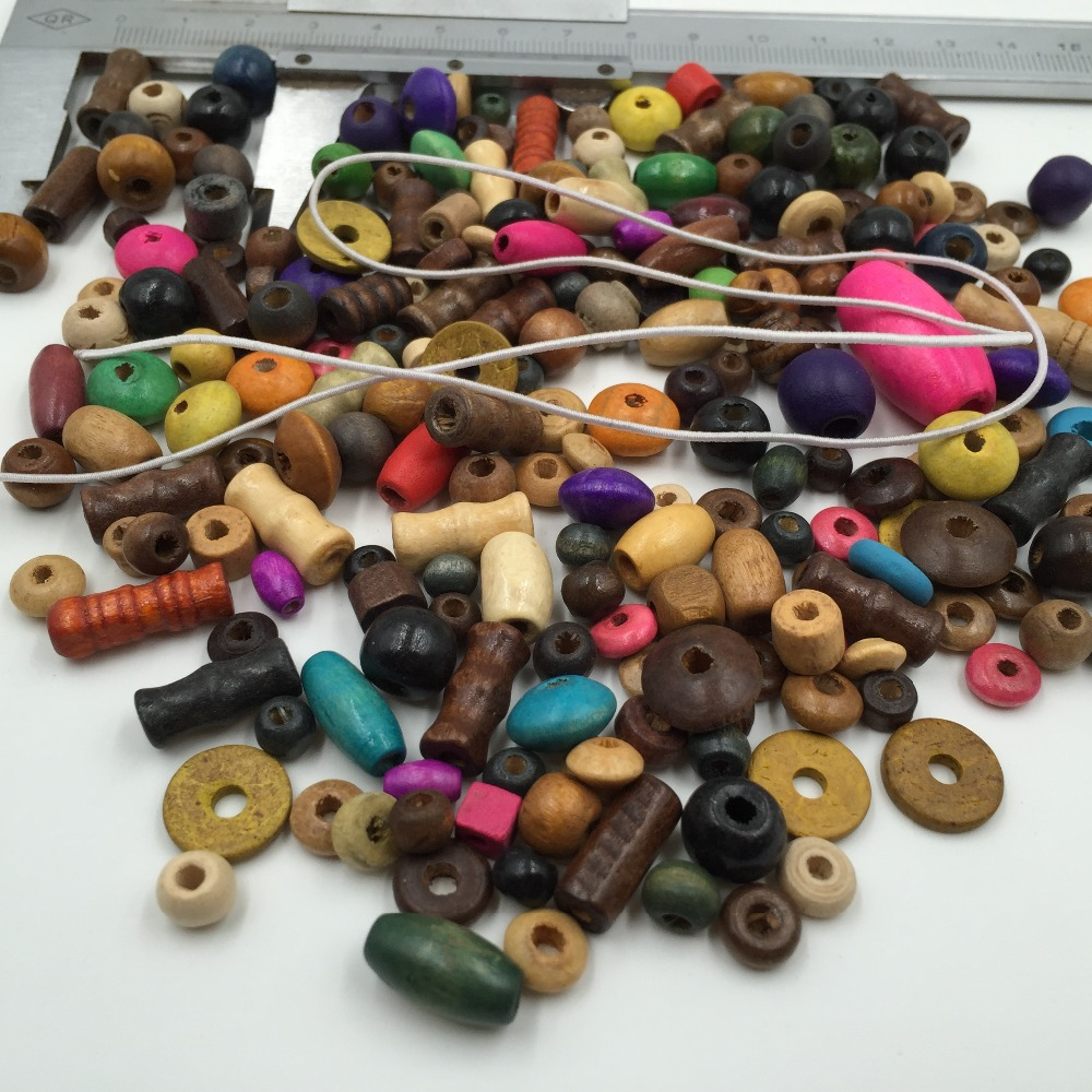 50pcs Assorted Cartoon Shape Wooden Beads Eco-friendly Paint 15-40mm