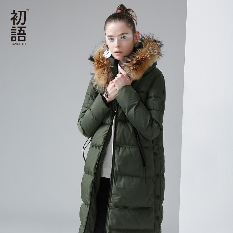 Toyouth Winter New Hoodies Long Duck Down Coat Female Slim Line Long Jacket Coats Outwear Style