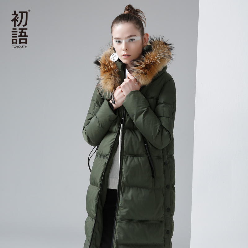 Toyouth Winter New Hoodies Long Duck   Down     Coat   Female Slim Line Long Jacket   Coats   Outwear Style