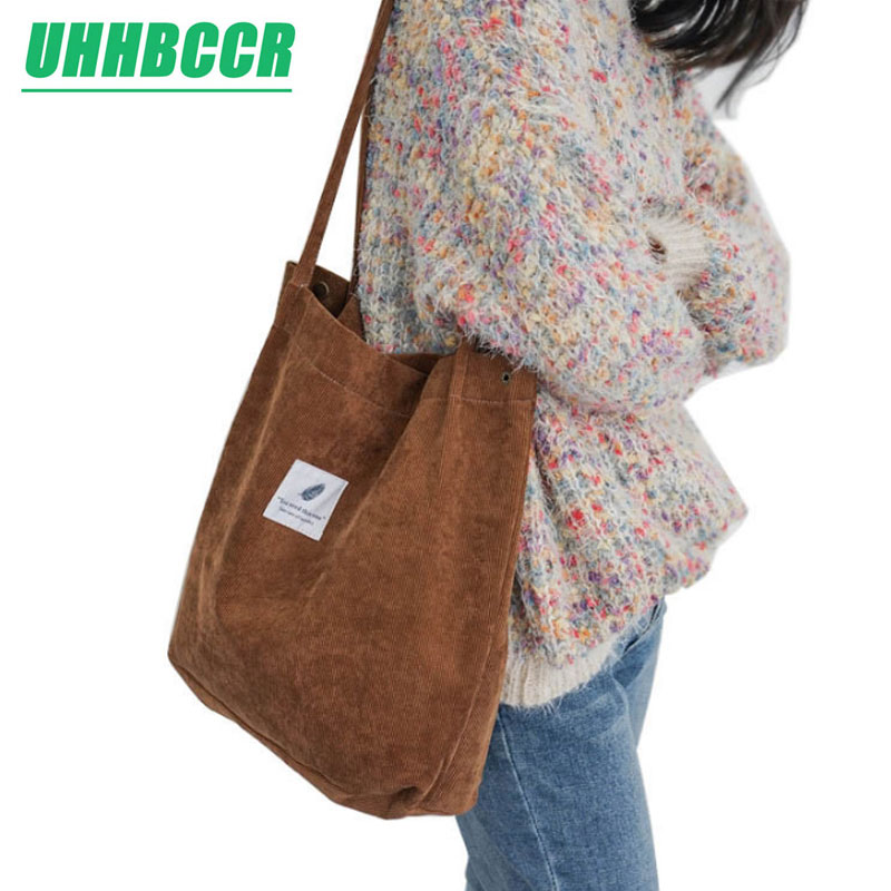 UHHBCCR High Capacity Women Corduroy Tote Ladies Casual Solid Color Shoulder Bag Foldable Reusable Women Shopping Beach Bag