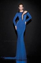 2017 herbst Winter Samt Long Sleeve Royal Blue Mermaid Abendkleider
