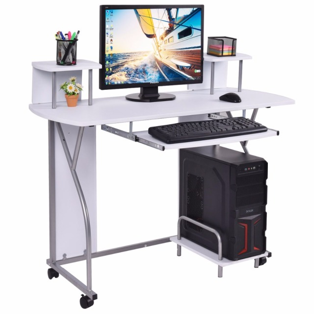 Goplus Rolling Computer Desk PC Laptop Desk Pull Out Tray Home Office  Workstation Modern Swivel Desks