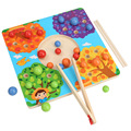 子供のおもちゃモンテッソーリ木製おもちゃクリップビーズカラーマッチングトレーニングパズル数学ゲーム赤ちゃんの早期教育玩具子供のため
