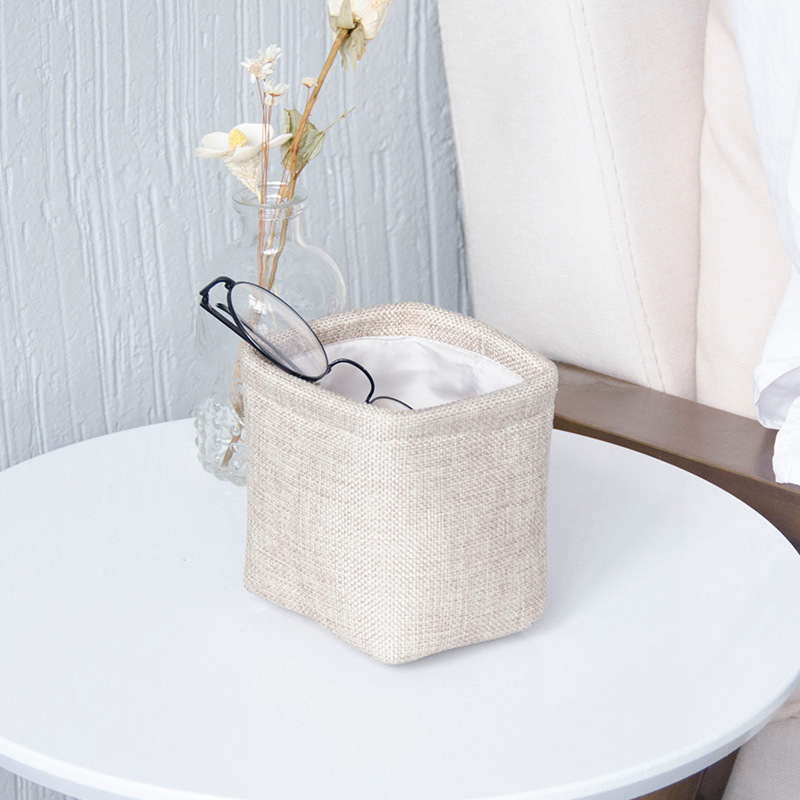 Small Desktop Storage Box Organizer Cotton Fabric Storage Basket Mini Pen Pencil Holder Makeup Organizer Box Home Supplies