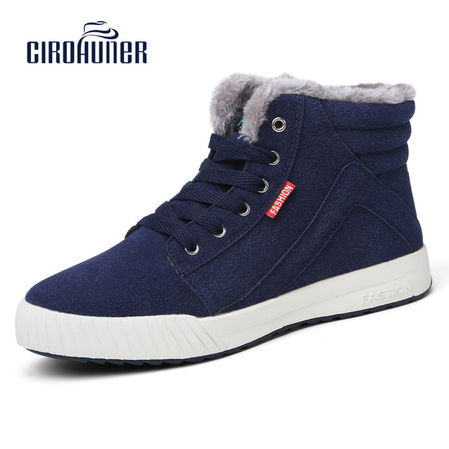 CIROHUNER Men's Casual Winter Warm Snow Boots Skate Shoes High Top Fur Lining Ankle