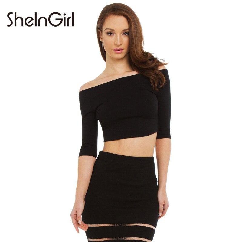 SheInGirl Black T Shirt Women Slash Neck Half Sleeve Basic