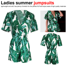 Ladies Summer Lantern Sleeve V-neck Green Plantain Print Cool Jumpsuit цены