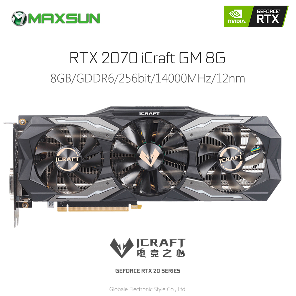 Original MAXSUN GeForce RTX 2070 ICraft GM 8G Video Graphics Card Gaming GDDR6 256 Bit 14Gbps HDMI DVI Map