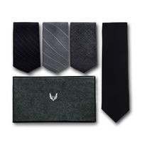 2018 New Fashion Wool Version Tie Men Dress Business Formal Work Students England Wedding Black 7cm Neck Ties with Gift Box
