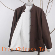 BrownTang Suit Tops Long Sleeve Traditional Chinese Clothes Male Kung Fu Uniform Outfit clothing Tang zhuang Jacket cotton linen