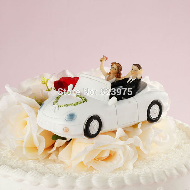 Our Wedding Day Wedding Car Cake Topper Happy Couple In Festooned
