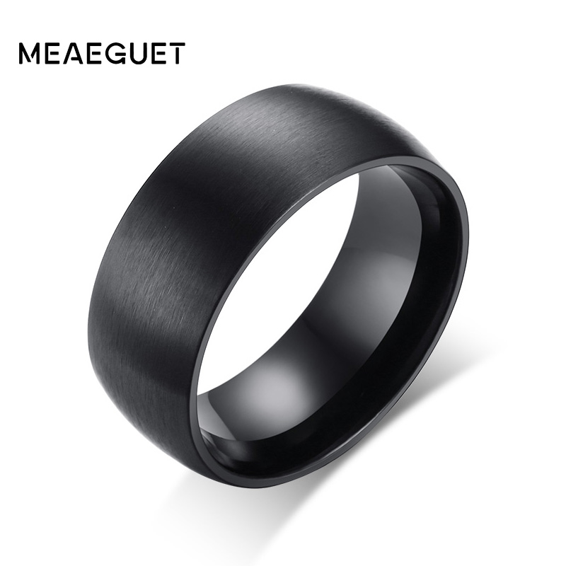 Meaeguet 8mm Wide Black Stainless Steel Engagement Ring Matte Brushed Center Jewelry Bag ...