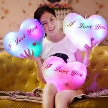Luminous LED Cushion Plush Pillow Cute Heart Shape Soft Christmas Part Creative Gift 36*33cm