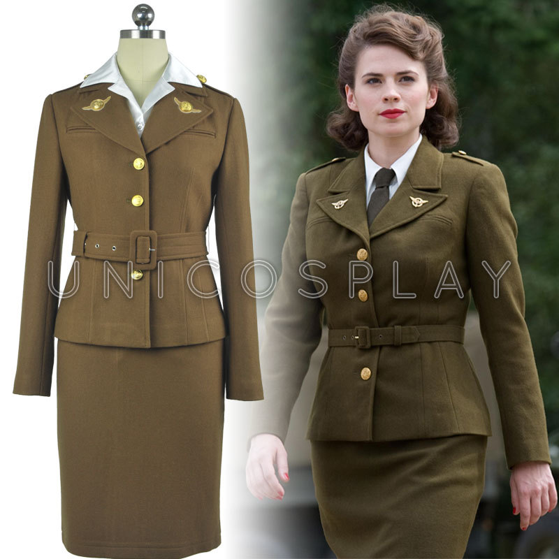 Captain America The First Avenger Agent Peggy Carter Dress Cosplay Costume Woman Army Suit Sets Jacket+Shirt+Skirt+Belt