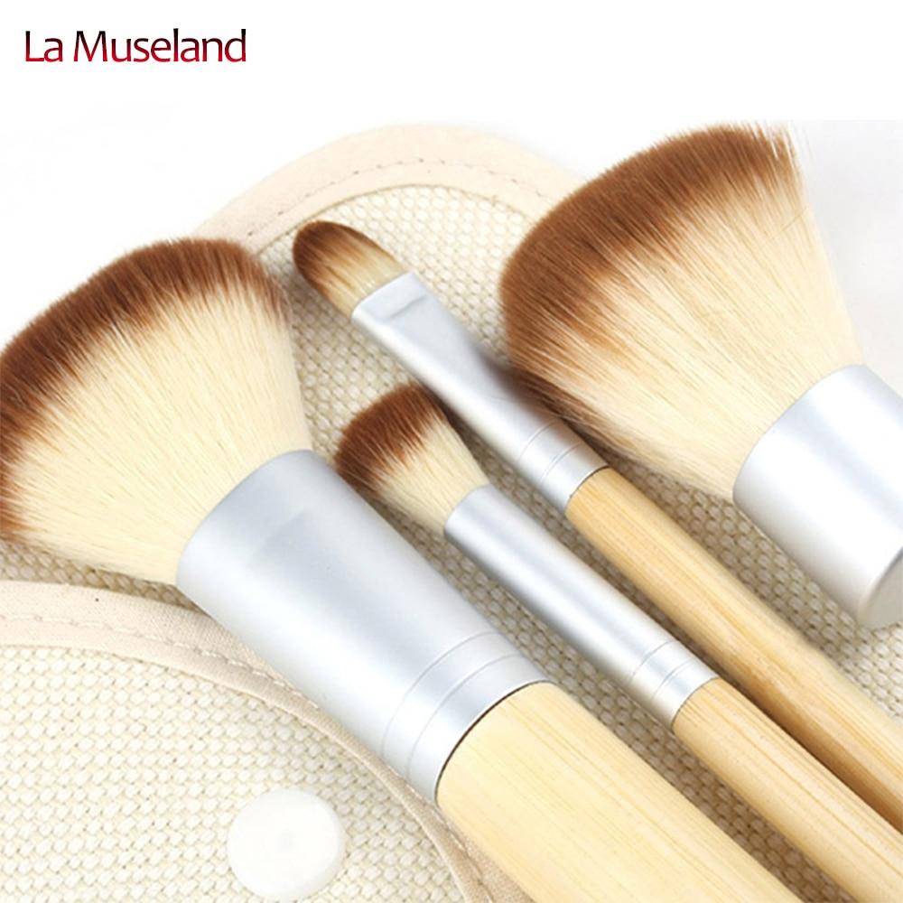 Venda quente 1 conjunto / 4 Pcs escovas Earth Friendly bambu elaborada maquiagem cosméticos escova profissional define #1404