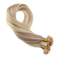 Moresoo U tip Highlight Hair Extensions Remy Human Hair Keratin Hair Extensions Color #18 Ash Blonde Mixed with #613 Blonde 50g