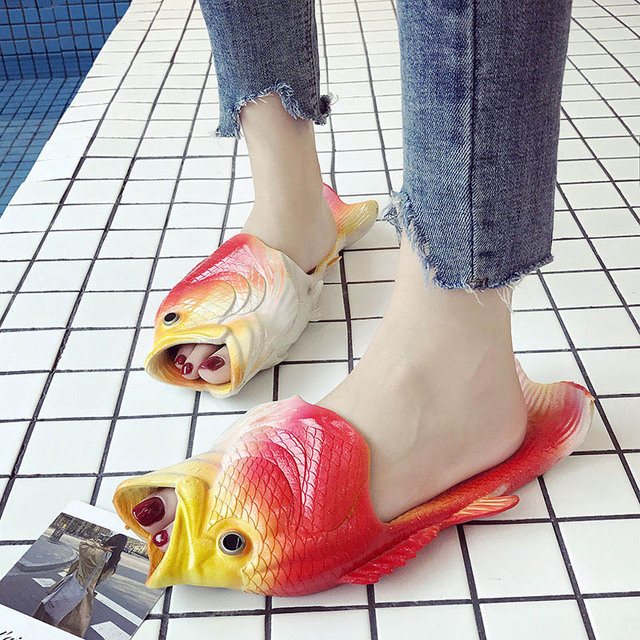 Summer Shoes Men Slippers Flip Flops Sandals Lightweight Beach Slippers Personality Women Shoes Fish Slippers