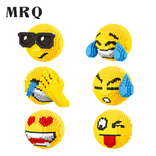 Mini Bricks Balody 2019 Face Emoji Block 3D DIY cartoon small particle Building Toy For Children birthday Interactive growth Blocks Cute Smile Cartoon Auction Figures Anime Smiley Emoticon Model