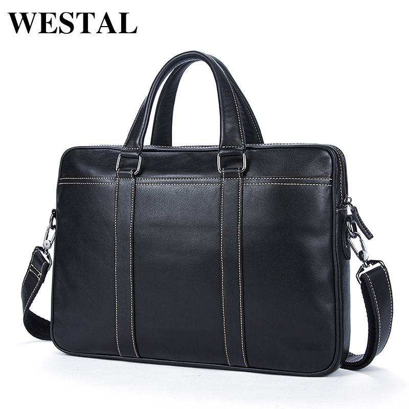 WESTAL Simple Briefcases Business Men Briefcase Bag Genuine Leather Laptop Casual Man Bag Shoulder bags Crossbody Bags 7612