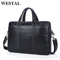 WESTAL Simple Briefcases Business Men Briefcase Bag Genuine Leather Laptop Bag Casual Man Bag Shoulder Bags
