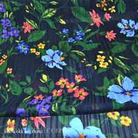 Blue Black Green Flowers 100 Silk Satin Georgette Silk Cloth Shun Yu Fold Dress Fabric