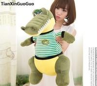 large 70cm stuffed toy lovely green crocodile plush toy dress cloth crocodile soft doll throw pillow Christmas gift h2028