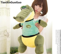 large 70cm stuffed toy lovely green crocodile plush toy dress cloth crocodile soft doll throw pillow Christmas gift h2028