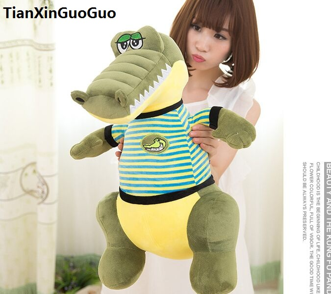 large 70cm stuffed toy lovely green crocodile plush toy dress cloth crocodile soft doll throw pillow Christmas gift h2028 lovely giant panda about 70cm plush toy t shirt dress panda doll soft throw pillow christmas birthday gift x023