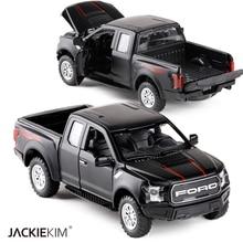 1:32 F150 Pick up Truck Legierung Auto Modell Metall Spielzeug Gießt Druck Fahrzeuge Pull Zurück Blinkende Sound Für Kinder Spielzeug Freies verschiffen